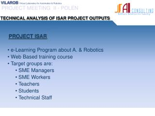 PROJECT ISAR  e-Learning Program  about A . &  Robotics  Web  Based training course