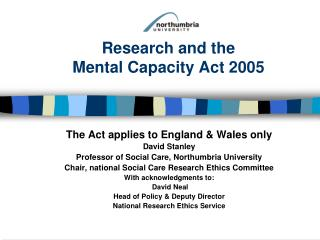 Research and the  Mental Capacity Act 2005