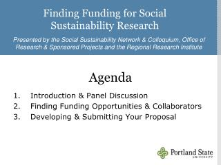 Finding Funding for Social Sustainability Research