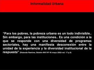 Informalidad Urbana