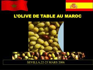 L'OLIVE DE TABLE AU MAROC