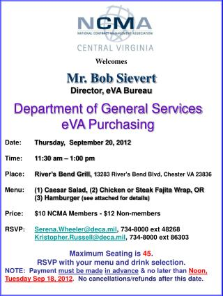 Welcomes Mr. Bob  Sievert Director,  eVA  Bureau