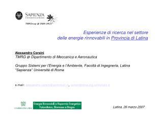 Esperienze di ricerca nel settore delle energie rinnovabili in  Provincia di Latina