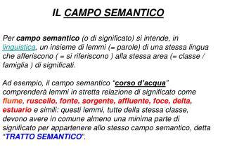 IL CAMPO SEMANTICO
