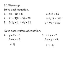 6.1 Warm-up Solve each equation. 4x – 10  = 8 2z + 3(4z + 5) = 20 5(2y + 1) = 4y + 12