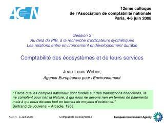 Jean-Louis Weber, Agence Européenne pour l'Environnement
