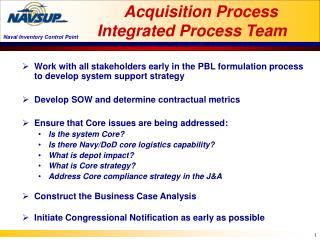 Acquisition Process Integrated Process Team