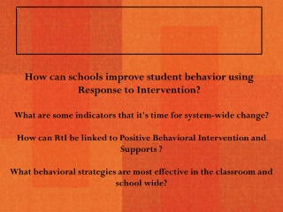 Response to Intervention Behavior