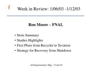 Week in Review: 1/06/03 -1/12/03