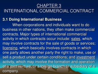 CHAPTER 3 INTERNATIONAL COMMERCIAL CONTRACT