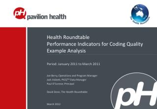 Health Roundtable Performance Indicators for Coding Quality Example Analysis