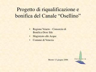 """Progetto di riqualificazione e bonifica del Canale """"Osellino"""""""