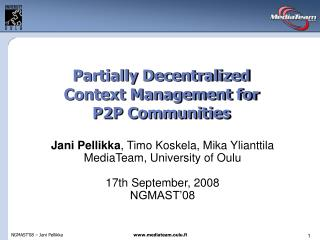 Partially Decentralized Context Management for P2P Communities