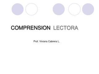 COMPRENSION LECTORA
