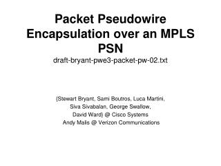 Packet Pseudowire Encapsulation over an MPLS PSN draft-bryant-pwe3-packet-pw-02.txt