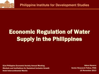 Economic Regulation of Water Supply in the Philippines