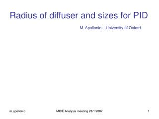 Radius of diffuser and sizes for PID