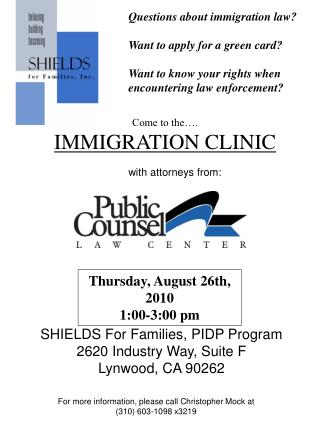 Questions about immigration law?  Want to apply for a green card?