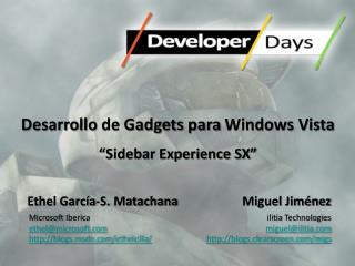 """Desarrollo  de Gadgets  para  Windows Vista """"Sidebar Experience SX"""""""