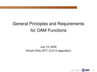 General Principles and Requirements for OAM Functions