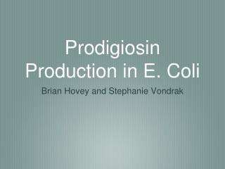 Prodigiosin Production in E. Coli