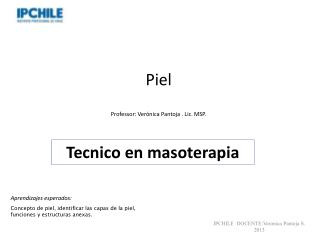 Piel  Professor: Verónica Pantoja . Lic. MSP.