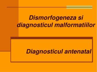Dismorfogeneza si diagnosticul malformatiilor  Diagnosticul antenatal