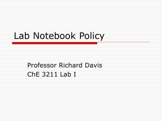 Lab Notebook Policy