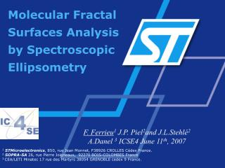 Molecular Fractal Surfaces Analysis by Spectroscopic Ellipsometry