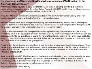 Nathan Jurczyk of Merchant Services Irvine Announces $500 Do