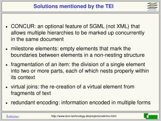 Solutions mentioned by the TEI