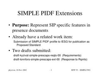 SIMPLE PIDF Extensions