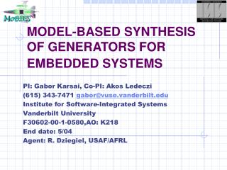 MODEL-BASED SYNTHESIS OF GENERATORS FOR EMBEDDED SYSTEMS