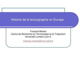 Histoire de la lexicographieen Europe