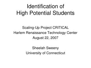 Identification of  High Potential Students