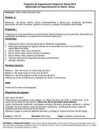 Programa de Capacitación Integral en Danza 2014 Diplomado de Especialización en Danza  Aérea