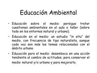 Educaci�n Ambiental