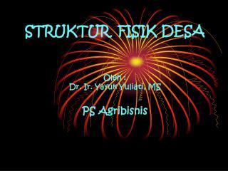 STRUKTUR  FISIK DESA Oleh : Dr. Ir. Yayuk Yuliati, MS PS Agribisnis