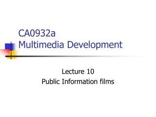 CA0932a  Multimedia Development