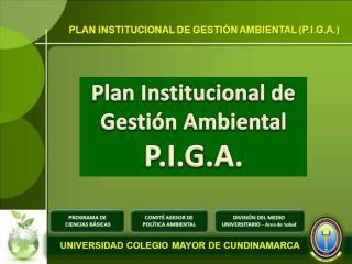 Plan Institucional de Gestión Ambiental P.I.G.A.