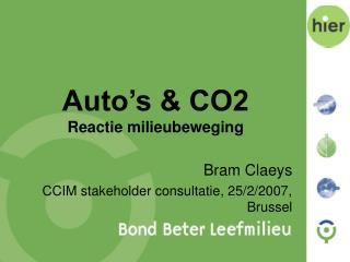 Auto's & CO2 Reactie milieubeweging