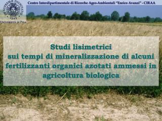 """Centro Interdipartimentale di Ricerche Agro-Ambientali """"Enrico Avanzi"""" - CIRAA"""