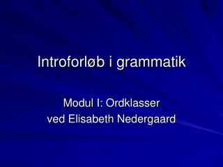 Introforløb i grammatik