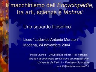 Il macchinismo dell' Encyclopédie , tra arti, scienze e  téchnai