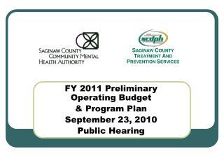 FY 2011 Preliminary Operating Budget  & Program Plan September 23, 2010 Public Hearing