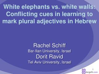 Rachel Schiff Bar-Ilan University, Israel Dorit Ravid Tel Aviv University, Israel
