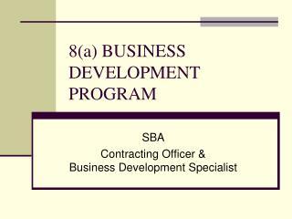 8a BUSINESS DEVELOPMENT PROGRAM