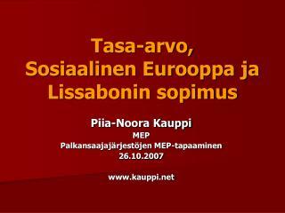 Tasa-arvo,  Sosiaalinen Eurooppa ja Lissabonin sopimus