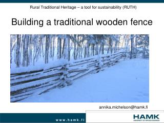 Rural Traditional Heritage – a tool for sustainability (RUTH)