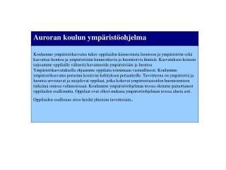 Auroran koulun ympäristöohjelma